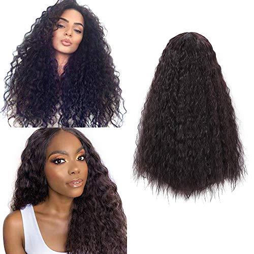 26 inch lange natuurlijke zwarte krullende pruiken voor vrouwen synthetisch bronwater golf Braziliaans haar (2#)