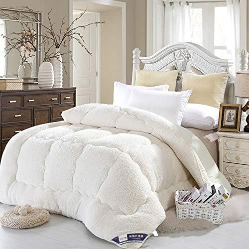 Trapunta invernale, coperta in cachemire agnello, coperta invernale in cashmere, coperta pesante per letto matrimoniale, coperta in pile per la casa, camera da letto, cammello, bianco, 150cmx200cm