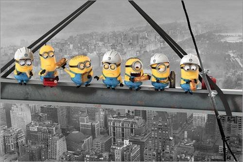 Ich einfach unverbesserlich Poster - Minions Lunch on a Skyscraper - Despicable Me (91,5 x 61 cm)