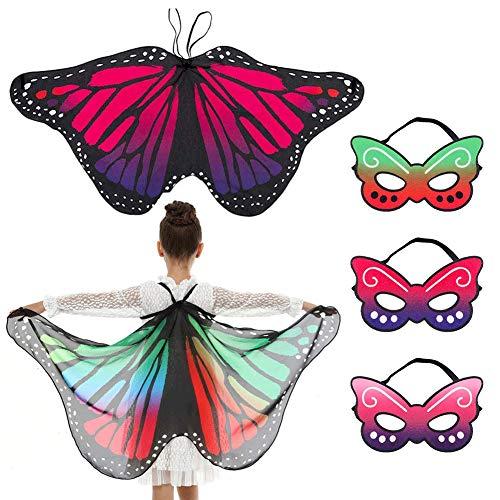 TMEOG 2Pcs Kinder Schmetterlingsflügel Jungen Mädchen Kinder Fee Schmetterling Cape Wings Tanzparty bevorzugt Cosplay Zubehör Vertuschung Kostüme mit 3Pcs Masken (HD 2 Wings+3 Mask)