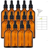 14 Flaconi ambra di 100ml in Vetro con Pipette Contagocce e tappo sigillo nero per olio essenziale compreso accessori
