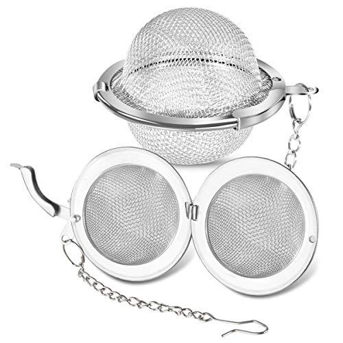 BabyElf Colador de te de acero inoxidable – infusor de te de 4,5 cm para te de hojas sueltas con malla extrafina, filtro de te compatible con tazas estandar, tazas y teteras (paquete de 2)