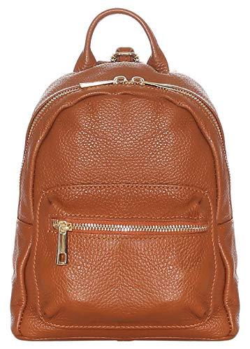 malito Damen Rucksack | Handtasche in trendigen Farben | Echtleder Rucksack | Schultertasche - Umhängetasche R500 (braun)