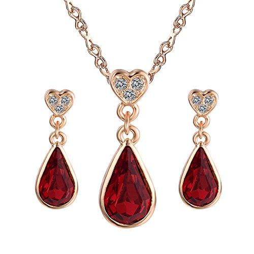 Yoursfs Träne-Änhanger des Herzen /18k Gold vergoldete Rubin hängiger Halskette und Ohrringe Set