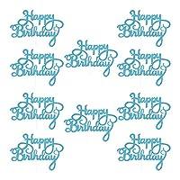 Alowa ケーキトッパー, 10ピースゴールドジッターハッピーバースデーケーキトッパー大人子供誕生日パーティーウェディングデコレーションベビーシャワーケーキ飾り用品 (Color : Blue)