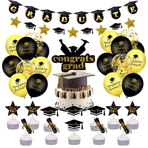 Kit de decoración suministros para fiesta graduación 2021 – Felicidades Grads Banner Garland bandera, confeti globos, decoraciones para tartas, remolinos colgantes, telón de fondo