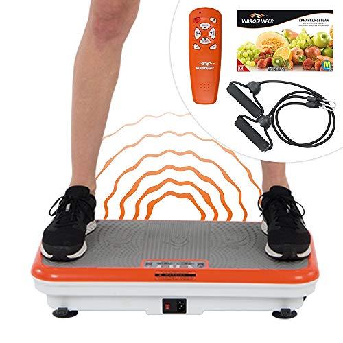 Mediashop VibroShaper – Fitness Vibrationsplatte bringt den Körper in Form – Vibrationstrainer für unterschiedliche Muskelgruppen – inklusive Fitnessbänder (orange/weiß ohne Griff)