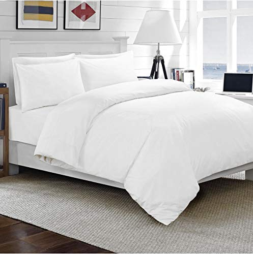 Sapphire Collection Luxury 100% Egyptian Cotton Duvet Quilt Cover & Pillowcase Bedding Set (White, Single)