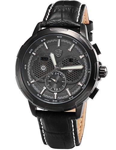 Horn Shark Sport Quarz Uhren Armbanduhr Herren Echtes Leder Duale Zeitzone LED Tagesanzeige Datumsanzeige Chronografenuhr SH359