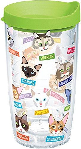 Tervis Flat Art – Copo para gatos com envoltório e tampa verde limão, 473 ml, transparente