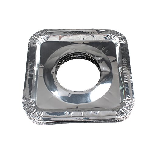 FASOTY Stove Burner Covers Gas Burner Liners - 50 pcs Square Aluminum Foil Gas Stove Burner Covers Disposable Range Protectors Bib Gas Top Liners Stove For Easy Clean 8.7' x 8.7'