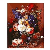美しいミックスカラーの花プリントDIYデジタル油絵数字ファッションハンドペインティング(フレームなし)