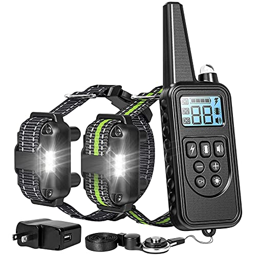 F-color Dog Training Collar, 865 Yards Safe Static Shock Collar for Dogs with Remote for Large Medium Small Dogs, Light Beep Vibration Shock 4 Modes, Waterproof and Rechargeable Dog Shock Collar
