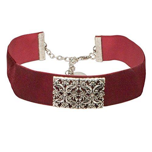 Alpenflüstern Trachten-Samt-Kropfband Ornament-Edelweiß Trachtenkette enganliegend, Kropfkette elastisch, eleganter Damen-Trachtenschmuck, Samtkropfband breit dunkel-rot DHK208