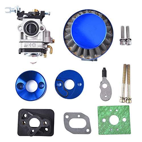 Kit de actualización de carburador de 15 mm, filtro de aire, juego de repuesto para 2 tiempos, 43 cc, 47 cc, 49 cc, para scooter, ATV, quad, Pocket Bike XG-550, BladeZ Moby X, color azul
