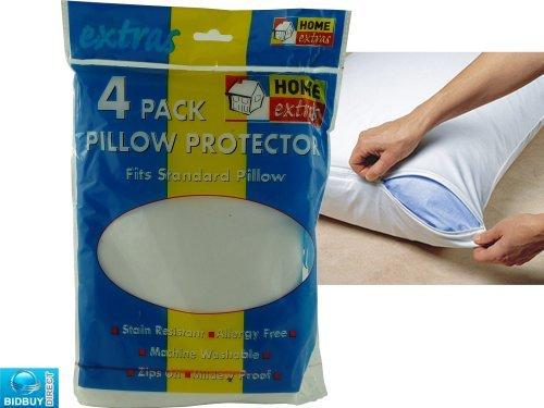 Bid Buy Direct,confezione da 4federe, 100% cotone, 144fili, a prova di muffa, anallergico, antiacaro, resistente alle macchie, lavabile in lavatrice, dimensioni standard