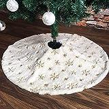 PICTURESQUE Falda de Árbol Navideño Falda Decoración para Navidad (Blanco con Nieve Dorado 47')
