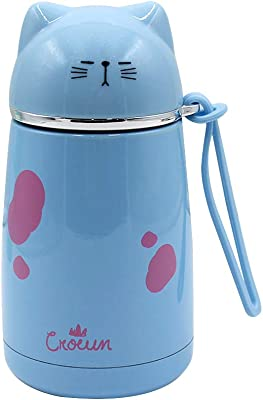 Amamcy Cute Cat Pattern Stainless Steel Thermos Cup Mug Vacuum Insulated Mug Water Beverage Bottle for Women Kids Girls, 15.63oz/370ml