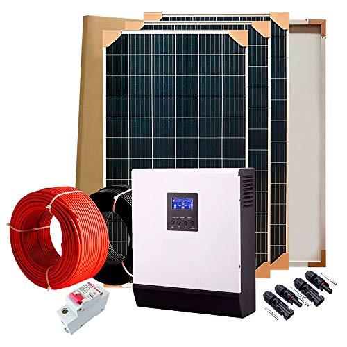 Kit solare fotovoltaico, 4 pannelli da 250 W, 1000W all ora, 5000W al giorno, 24V, inverter da 3kVA (2400W), regolatore 50A, caricatore 30A