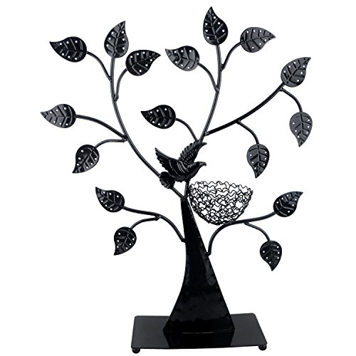 MyGift Jewelry Tree Bird Nest Black Table Top Décor 48 Pair Earrings Holder/Bracelets Necklace Organizer Stand Display Tower