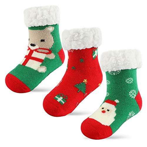 3 Pairs Girls Boys Slipper Socks Kids Winter Christmas Socks, Sherpa-lined Fuzzy Grips Socks for Boys for Girls Age 4-8 Years (3 Pairs Xmas, Fit Age 6-8 Years)