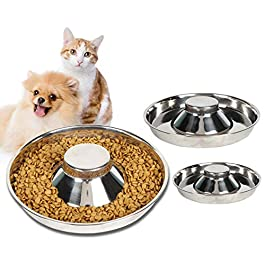 CHICAN Stainless Steel Pet Slow Feeding Bowl-(985ml) Slowly Swallowing Dog Food Bowl-Slowly Feeding Dog Cat Bowl-Pet Anti-anti Fatty Slow Food Bowl