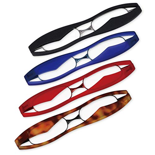 新型 ポッドリーダースマート (レッド, 度数+1.50) ブルーライトカット 超薄型・軽量 携帯用 折りたたみ老眼鏡 東レ トレシー クリーニングクロス セット