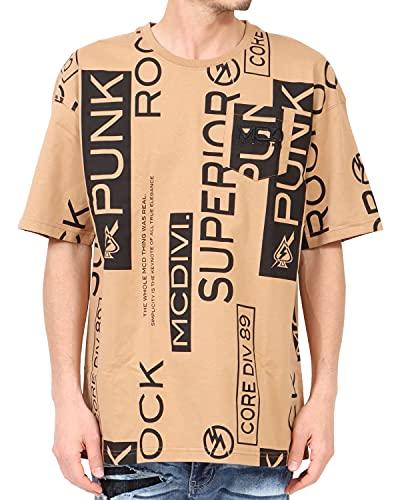 [エムシーディ] MCD Tシャツ ビッグ 総柄 ポケット Tee 212M1001 ベージュ L
