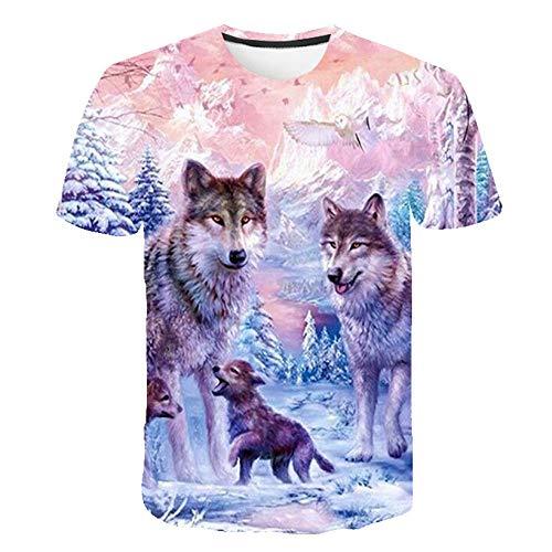 FANGDADAN 3D Printed T-Shirts,Unisex Kreative Tier Wolf 3D Grafik Drucken Kurzarm Pullover Regular Fit T-Shirt Für Männer Frauen Teens,XL