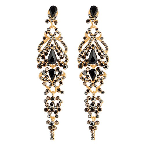 Arte Deco Negro Rhinestones Cristal Cluster Chandelier Araña Luces Largo Statement Declaración Pendientes, Fiesta Prom