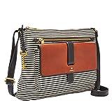 Fossil Women's Kinley Fabric Crossbody Handbag, Black Stripe