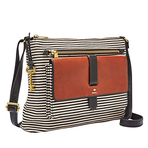 Fossil Women's Kinley Fabric Large Crossbody Handbag, Black Stripe