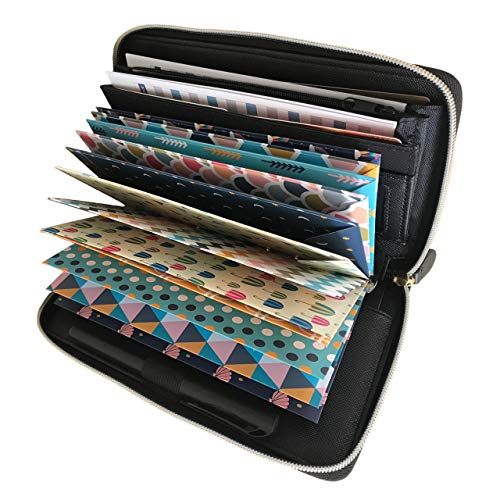 All-in-One Cash Envelope System Wallet,with 12 Cash Budget Envelopes and 12 Budget Sheets Perfect for Family Personal Financial budget planner organizer (Black)
