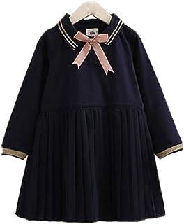 [えみり] 女の子 ワンピース ロングスカート ガールズ キッズ 製服 プリーツ ボウタイ付き 折り襟 ドレス 入園式 入学式 卒業式 学院風