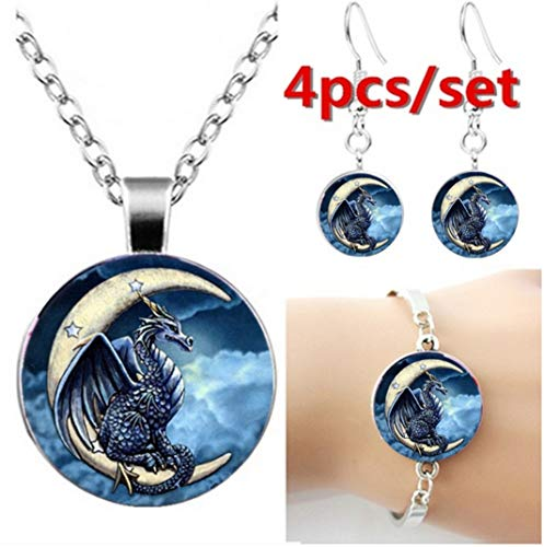 Feeries et merveilles draak op maan ketting en armband en oorbellen draak beeldje set