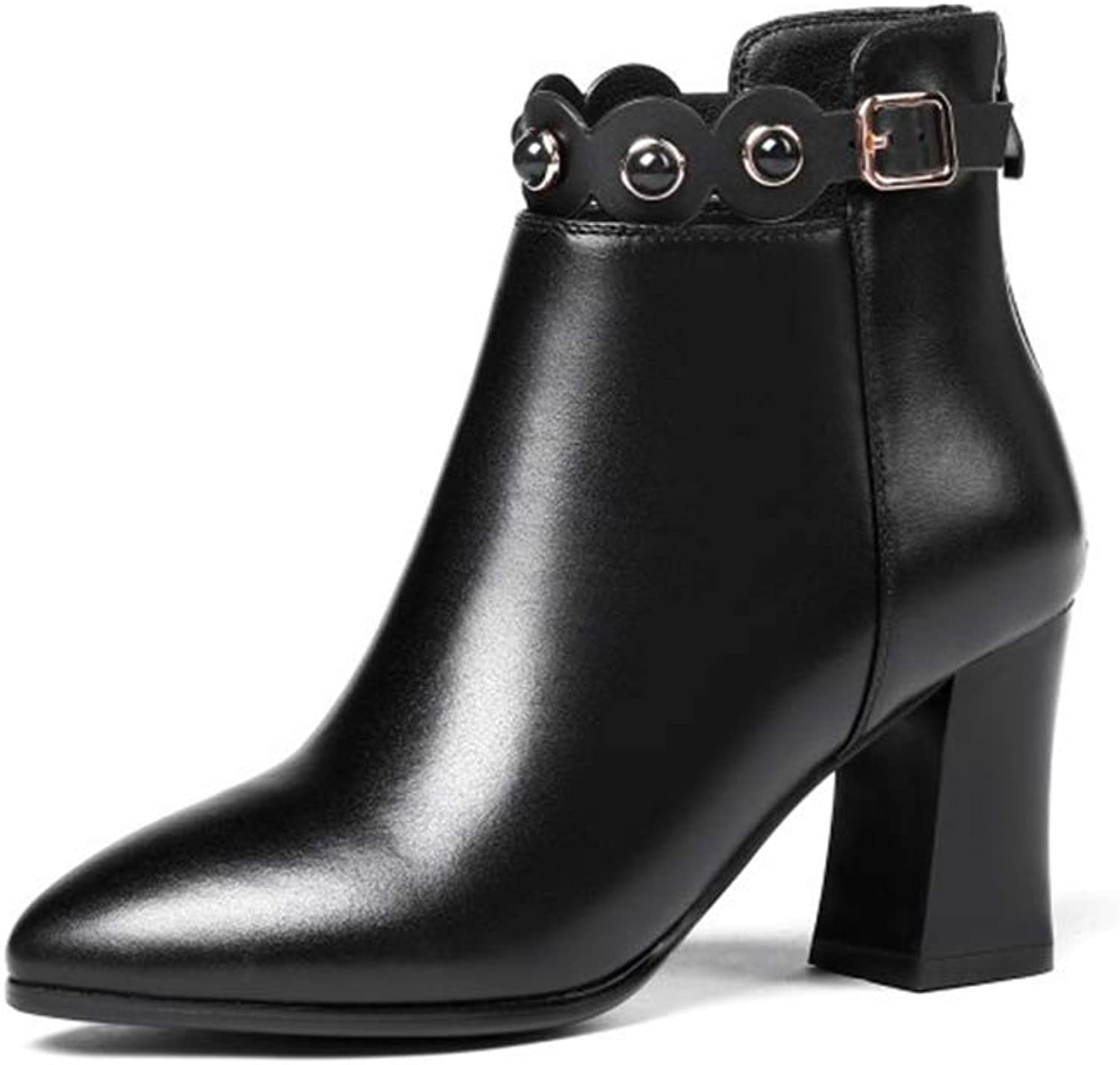 Women's High-Heel Boots Leather Fall & Winter Booties Lace Up Ankle High Boots Martin Boots Ankle Boots Wedding Party & Evening (color   Black, Size   37)