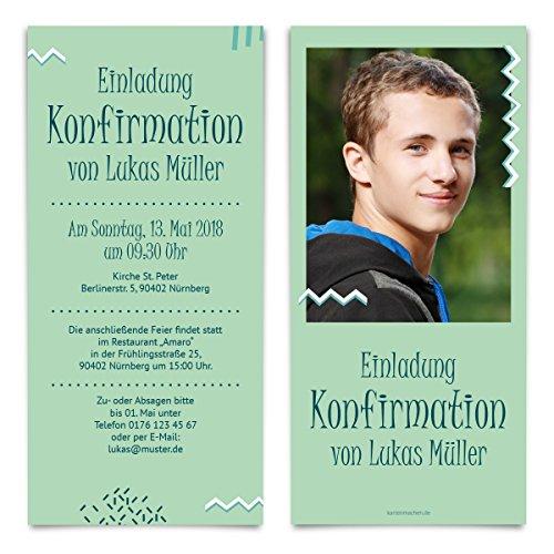 10 x Konfirmation Einladungskarten Konfirmationseinladungen Konfirmationskarten - Verspieltes Zickzack
