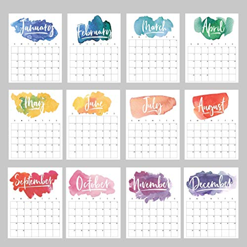 2020 Wall Calendar Rainbow Bright Watercolor - Sheets for Each Month, Birthdays, Year At A Glance, Personal Goals - Hang On Your Wall or Use In Your Planner - 8.5 x 11 Cardstock by RitzyRose