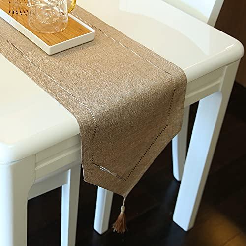 ARVOV Camino de mesa con aspecto de lino, lavable, elegante, tejido para el hogar, para comedor, fiestas, vacaciones, decoración, 32 x 180 cm, color beige