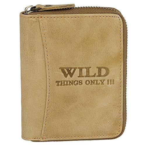 Ledershop24 Geschenkset - Bag Street Herren Geldbörse Leder Portemonnaie Geldbeutel mit Reißverschluss 5508 Farbe Cognac