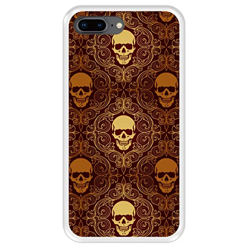 Hapdey Funda Transparente para [ iPhone 7 Plus - 8 Plus ] diseño [ Calaveras Doradas, patrón Abstracto ] Carcasa Silicona Flexible TPU