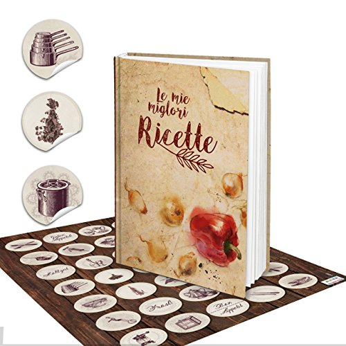Gift Set Italiaans kookboek receptenboek om zelf te schrijven LE MIE MIGLIORI RICETTE notitieboek recepten verzamelen eigen kookboek + vintage keukensticker - keuken koken