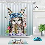 NFGFD Resumen Divertido Flor Buho Set de baño con impresión 3D