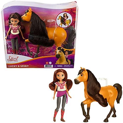 DreamWorks Spirit GXF21 - Spirit Lucky Puppe (18 cm) mit 7 beweglichen Gelenken & Pferd Spirit (20cm) mit langer Mähne, tolles Geschenk für Kinder ab 3 Jahren