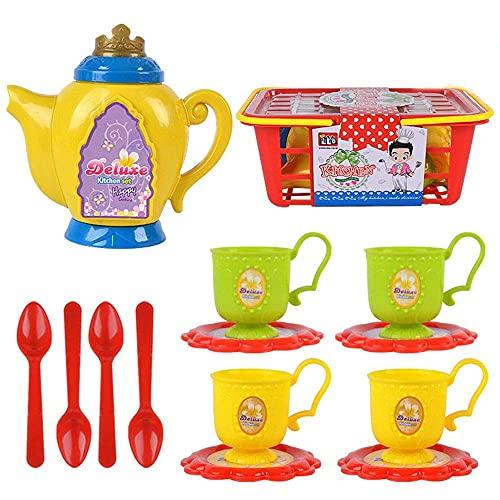 Juego de té europeo Juego de té de simulación para niños Bandeja de té de color de dibujos animados Material plástico Juego de té de simulación Fiesta del té de la tarde Regalo de cumpleaños para niña