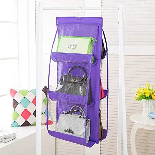 Zapatero para puerta de almacenamiento de pared, transparente, bolsa de zapatos, organizador para guardar el armario, bolsa de almacenamiento transparente con bolsa para colgar (color: púrpura)