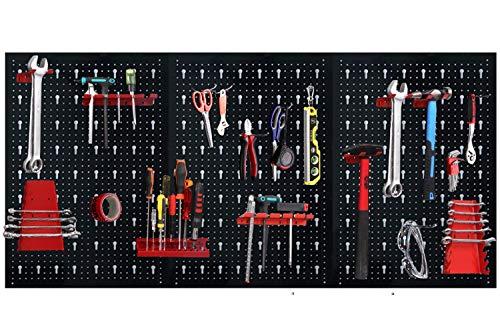 HENGMEI Werkzeuglochwand Werkzeugwand aus Metall mit 17tlg. Hakenset 120 x 60 x 2 cm Lochwand für...