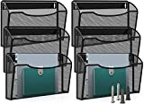 MaxGear Mesh File Holder Wall Organizer 6 Pockets Hanging File Organizers Wall Mounted File Holders for Home and Office, Metal, Black