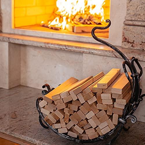 Kaminholz mit Kaminanzünder 2-in-1 aus FSC Birke - Supertrockenes und Sauberes Anzündholz mit Brennholz für Kamin Grill Ofen BBQ - Kein Anzünder Anzündwolle Anfeuerholz braucht