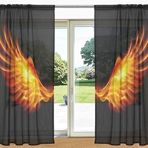 Cortina transparente para janela com estampa de asas de fogo My Daily Fire 2 painéis 139,66 cm x 198,12 cm, bolso para varão para decoração de sala de estar, quarto